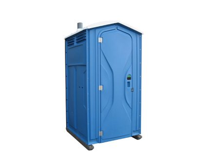 Single blue portable toilet