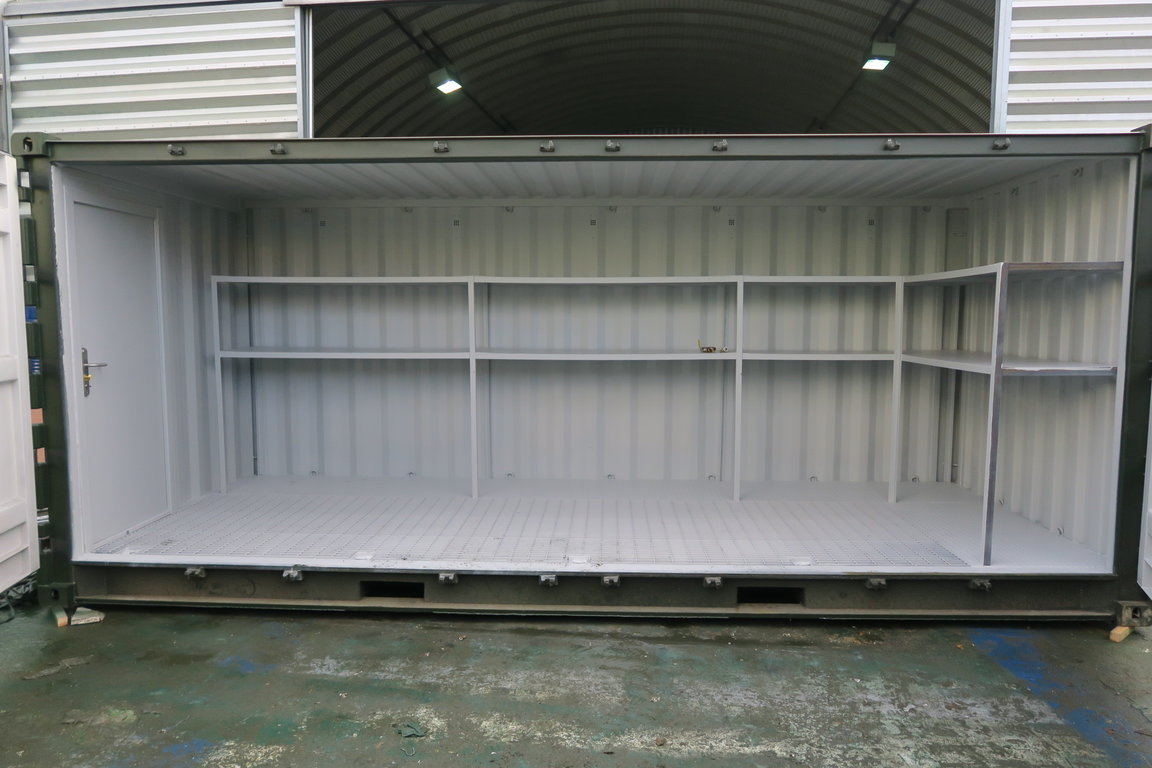 Open storage container with storage shelves