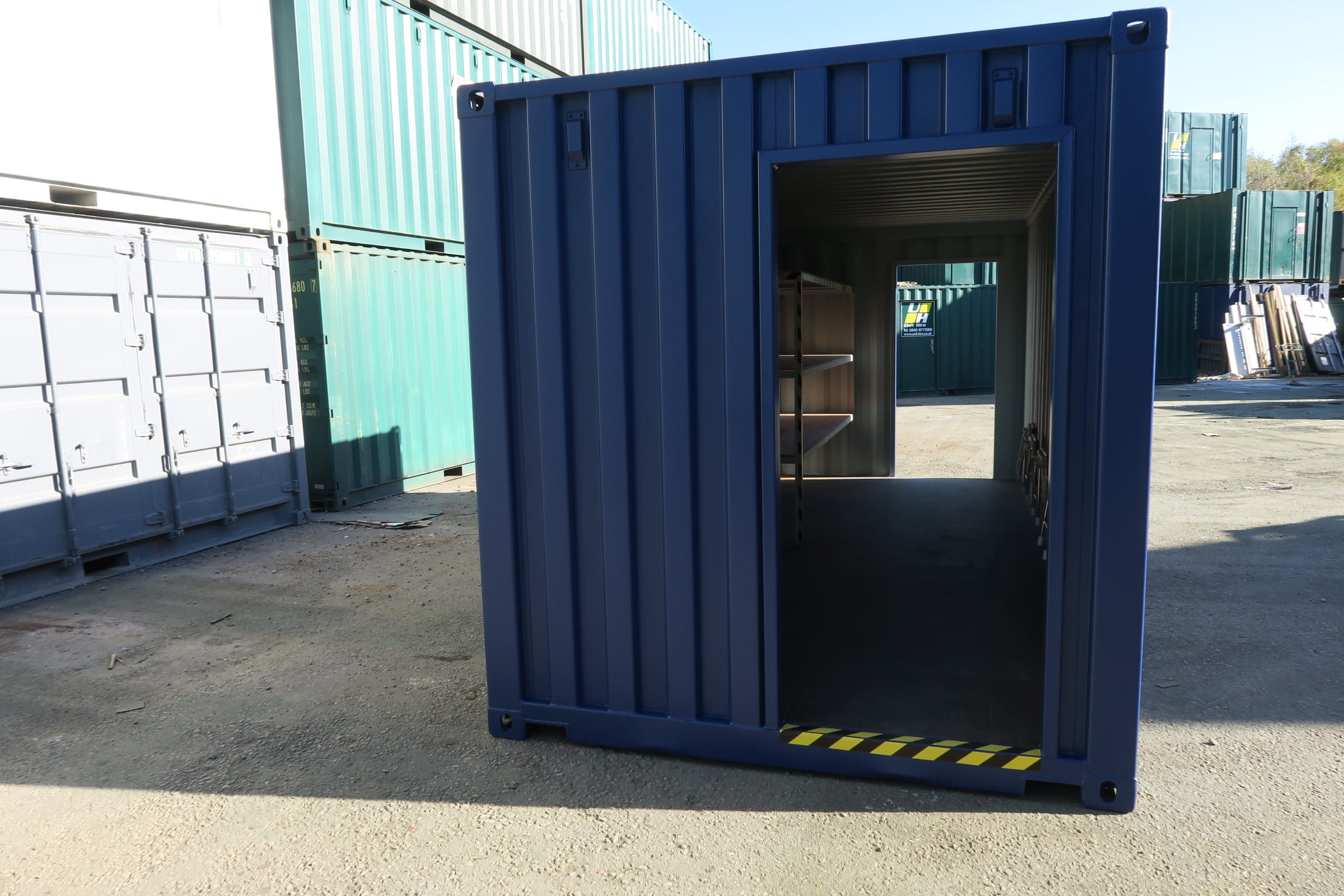 Shipping container changing room outside